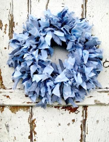 Raggedy blue fabric wreath