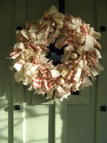 Cream red Christmas raggedy wreath