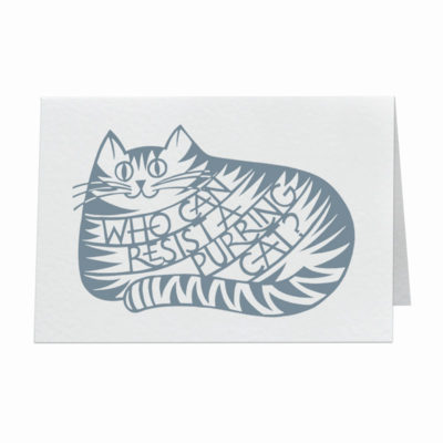 Who can resist a purring cat? card