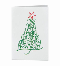 merry typographic Christmas tree card